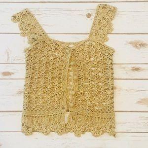 Nanette Lepore Gold crochet vest Sz S